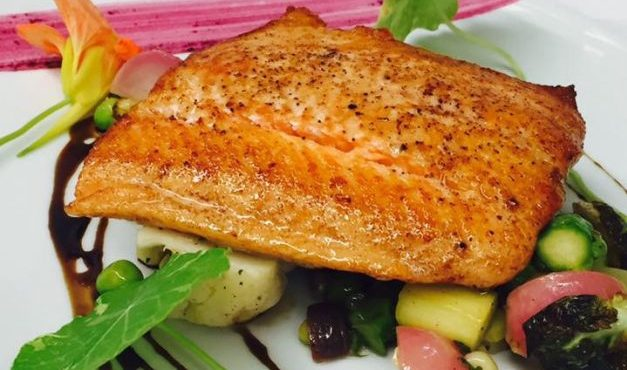Salmon on vegetables at our Edenton Restaurant