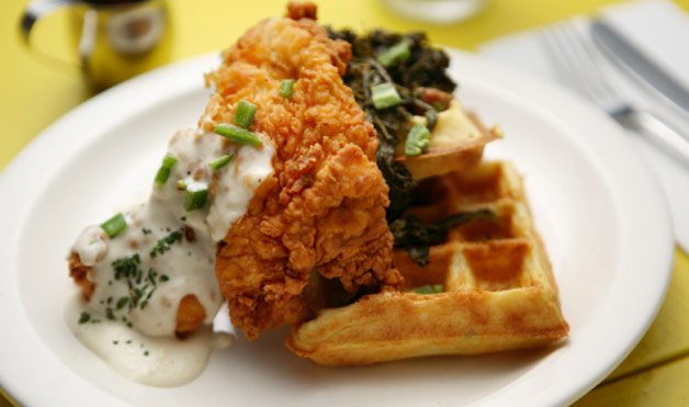Lunch Special with chicken and waffle at out Inner Banks restaurant
