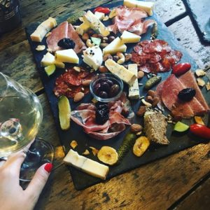 Plate with cheese and meats